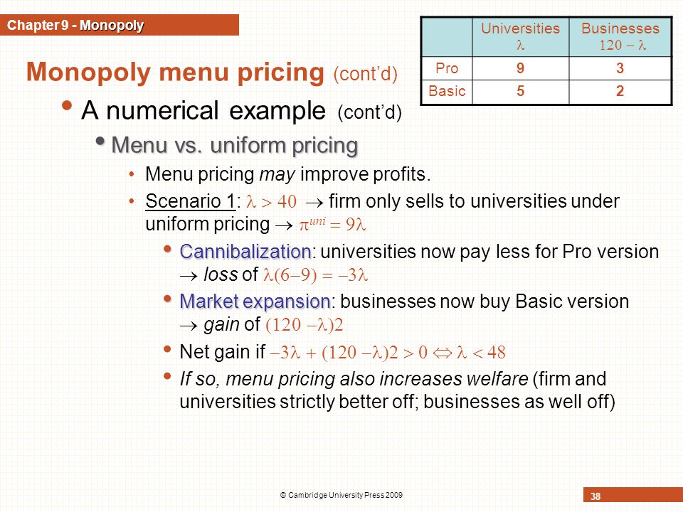 © Cambridge University Press 2009 38 Monopoly menu pricing (cont'd) A numerical example (cont'd) Menu vs.