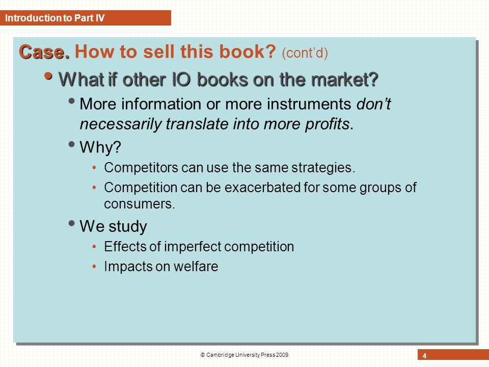 © Cambridge University Press 2009 4 Case.Case. How to sell this book.