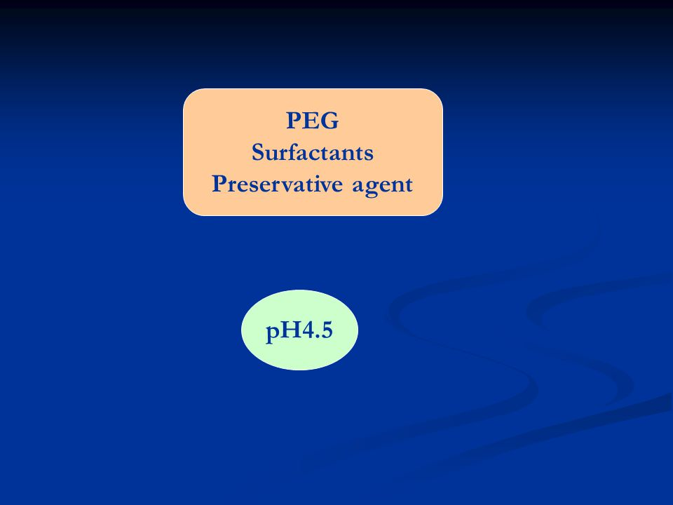 PEG Surfactants Preservative agent pH4.5