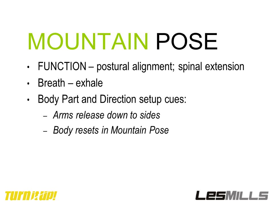 MOUNTAIN POSE FUNCTION – postural alignment; spinal extension Breath – exhale Body Part and Direction setup cues: – Arms release down to sides – Body