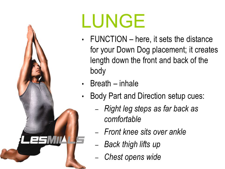 WARRIOR 1 FUNCTION – lower body strength; internal hip rotation to balance the pelvis; back leg hip flexor/psoas stretch; spinal extension Breath Body Part and Direction setup cues (assuming lengthwise orientation): – Right foot steps as far back as comfortable