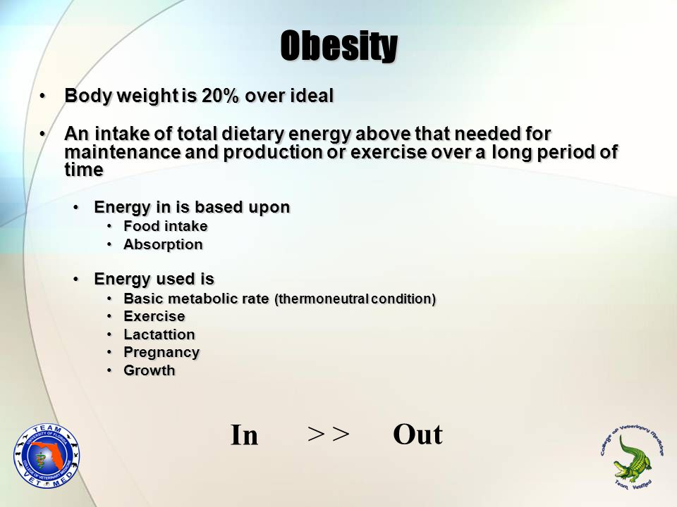 Obesity Body weight is 20% over idealBody weight is 20% over ideal An intake of total dietary energy above that needed for maintenance and production