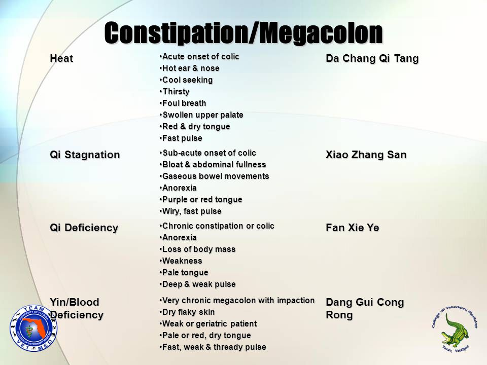 Constipation/Megacolon Heat Acute onset of colicAcute onset of colic Hot ear & noseHot ear & nose Cool seekingCool seeking ThirstyThirsty Foul breathFoul breath Swollen upper palateSwollen upper palate Red & dry tongueRed & dry tongue Fast pulseFast pulse Da Chang Qi Tang Qi Stagnation Sub-acute onset of colicSub-acute onset of colic Bloat & abdominal fullnessBloat & abdominal fullness Gaseous bowel movementsGaseous bowel movements AnorexiaAnorexia Purple or red tonguePurple or red tongue Wiry, fast pulseWiry, fast pulse Xiao Zhang San Qi Deficiency Chronic constipation or colicChronic constipation or colic AnorexiaAnorexia Loss of body massLoss of body mass WeaknessWeakness Pale tonguePale tongue Deep & weak pulseDeep & weak pulse Fan Xie Ye Yin/Blood Deficiency Very chronic megacolon with impactionVery chronic megacolon with impaction Dry flaky skinDry flaky skin Weak or geriatric patientWeak or geriatric patient Pale or red, dry tonguePale or red, dry tongue Fast, weak & thready pulseFast, weak & thready pulse Dang Gui Cong Rong