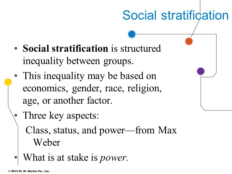 © 2013 W. W. Norton Co., Inc. Social stratification Social stratification is structured inequality between groups. This inequality may be based on eco