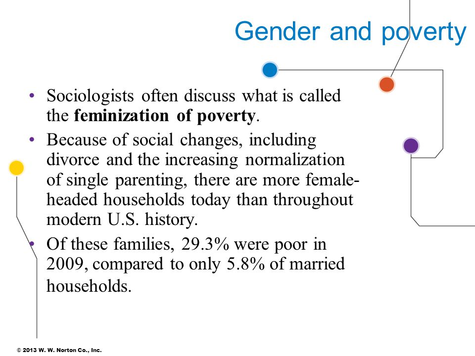 © 2013 W. W. Norton Co., Inc. Gender and poverty Sociologists often discuss what is called the feminization of poverty. Because of social changes, inc