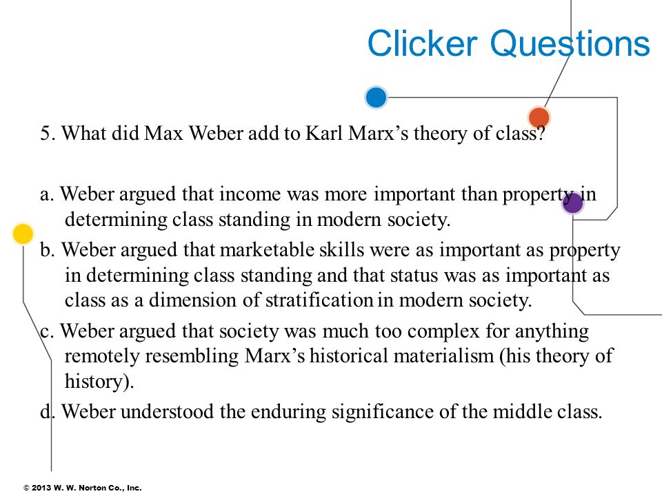 © 2013 W. W. Norton Co., Inc. Clicker Questions 5. What did Max Weber add to Karl Marx's theory of class? a. Weber argued that income was more importa