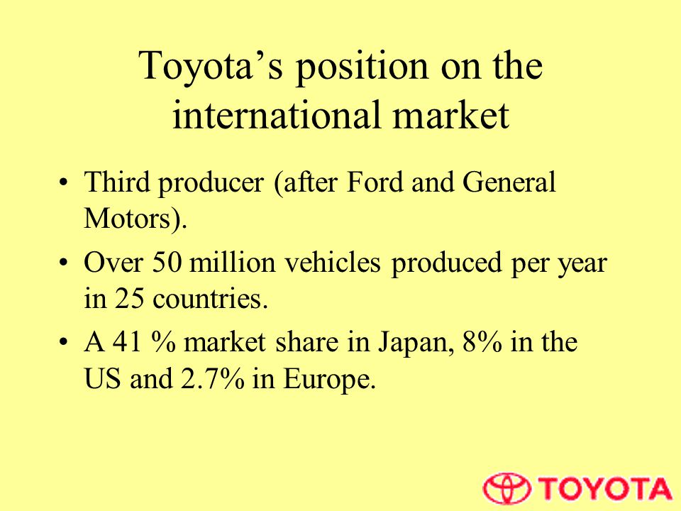 Toyota's position on the international market Third producer (after Ford and General Motors).
