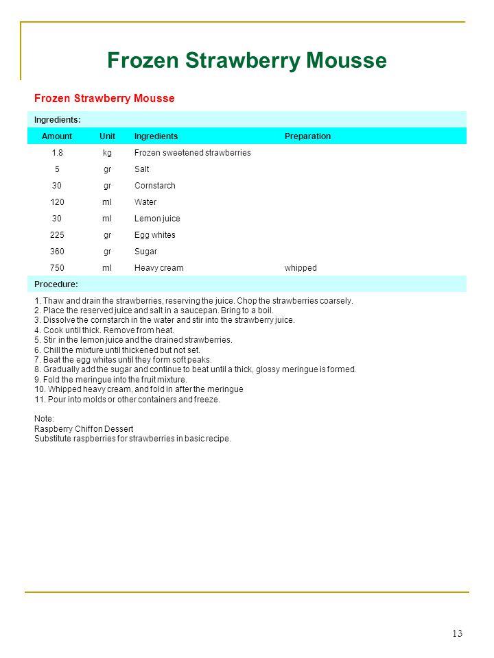 13 Frozen Strawberry Mousse Ingredients: AmountUnitIngredientsPreparation 1.8kgFrozen sweetened strawberries 5grSalt 30grgrCornstarch 120mlWater 30mlL