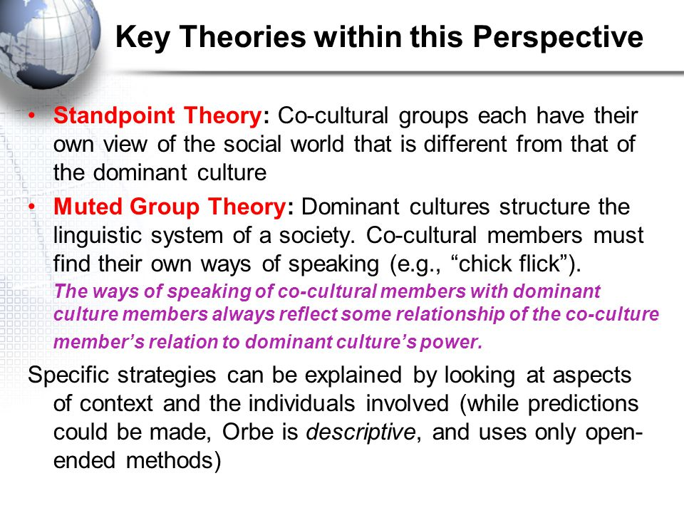 Co-Cultural Theories based on Power Structures Main Point: While groups may create their own identities (CTI), these identities are created within str