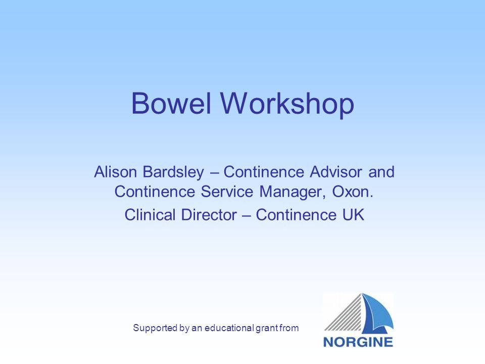 Bowel Workshop Alison Bardsley – Continence Advisor and Continence Service Manager, Oxon.