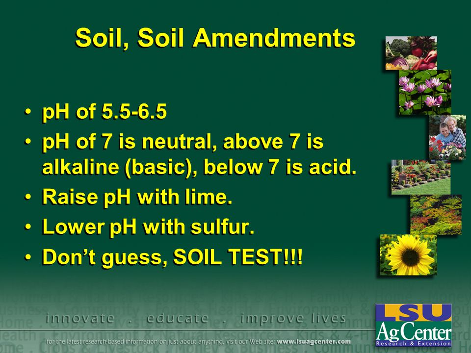 Soil, Soil Amendments pH of 5.5-6.5 pH of 7 is neutral, above 7 is alkaline (basic), below 7 is acid. Raise pH with lime. Lower pH with sulfur. Don't