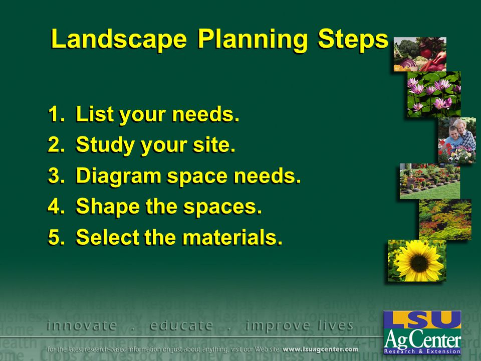 Landscape Planning Steps 1.List your needs. 2.Study your site. 3.Diagram space needs. 4.Shape the spaces. 5.Select the materials. 1.List your needs. 2