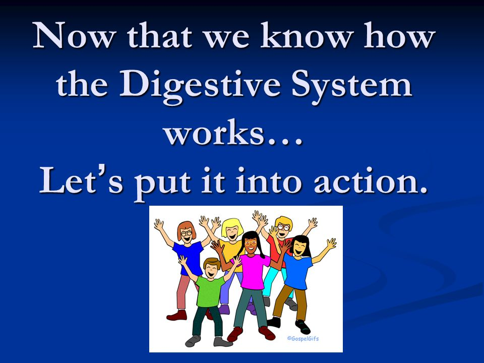 Now that we know how the Digestive System works… Let ' s put it into action.