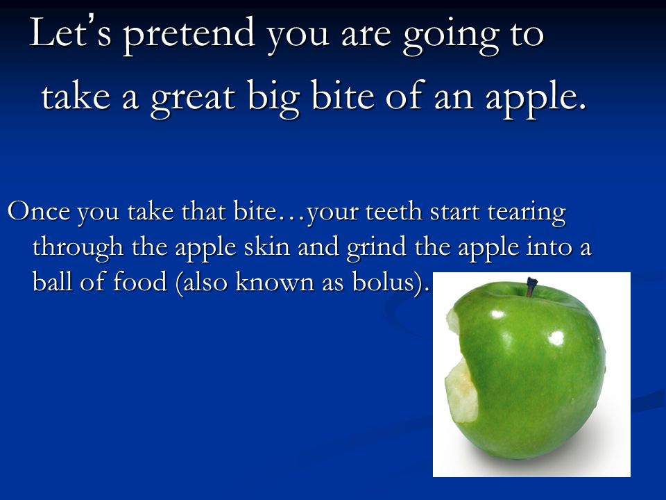 Let ' s pretend you are going to Let ' s pretend you are going to take a great big bite of an apple. take a great big bite of an apple. Once you take