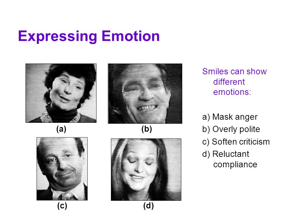 Expressing Emotion Smiles can show different emotions: a) Mask anger b) Overly polite c) Soften criticism d) Reluctant compliance (a)(b) (c)(d)