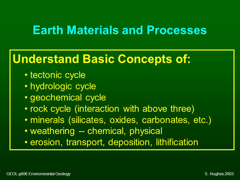 Earth Materials and Processes Understand Basic Concepts of: tectonic cycle hydrologic cycle geochemical cycle rock cycle (interaction with above three) minerals (silicates, oxides, carbonates, etc.) weathering -- chemical, physical erosion, transport, deposition, lithification GEOL g406 Environmental GeologyS.