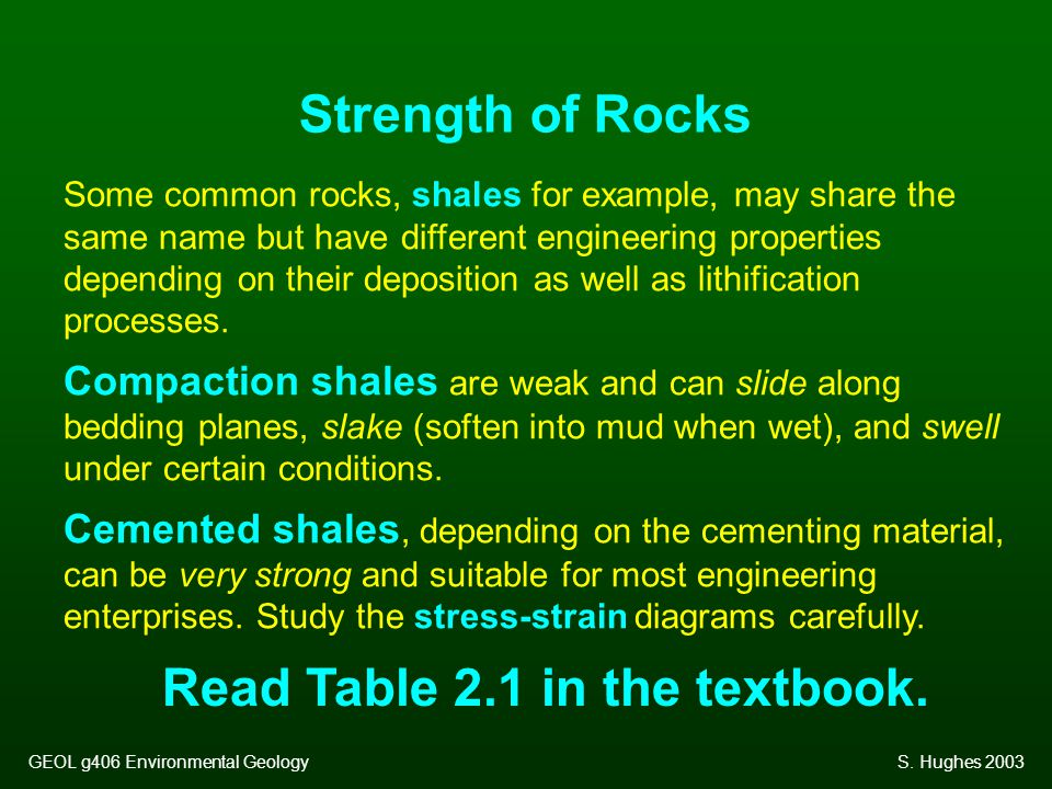 Some common rocks, shales for example, may share the same name but have different engineering properties depending on their deposition as well as lith