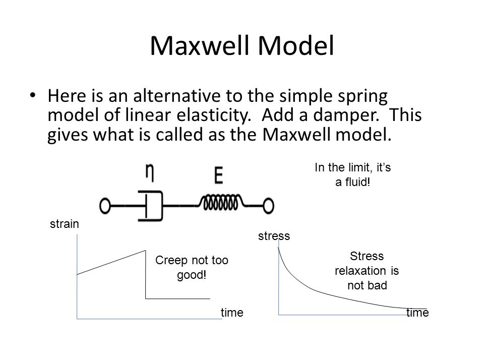 Maxwell Model Here is an alternative to the simple spring model of linear elasticity. Add a damper. This gives what is called as the Maxwell model. st
