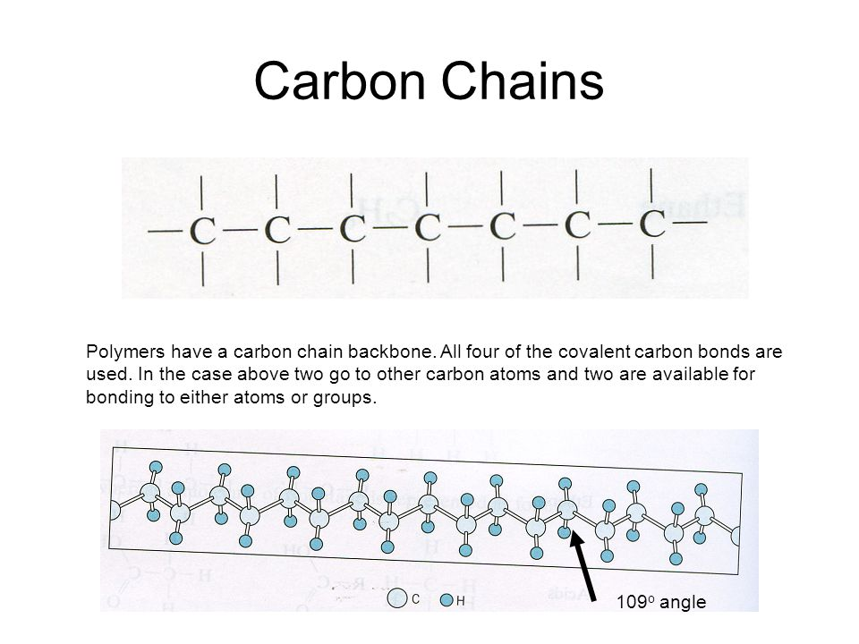 Carbon Chains Polymers have a carbon chain backbone.