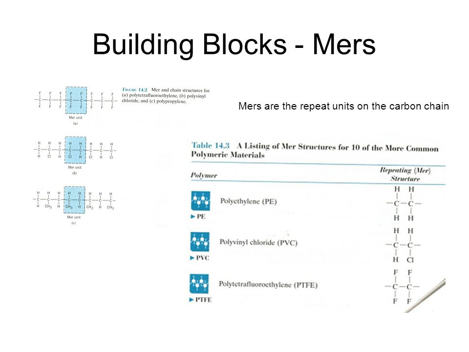 Building Blocks - Mers Mers are the repeat units on the carbon chain