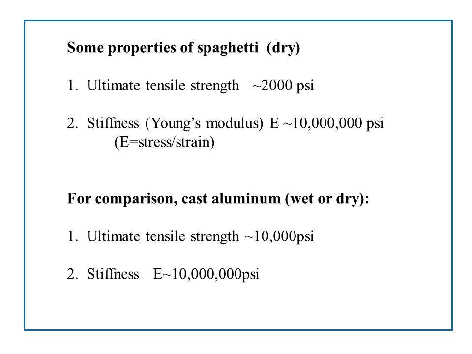 Some properties of spaghetti (dry) 1. Ultimate tensile strength ~2000 psi 2.