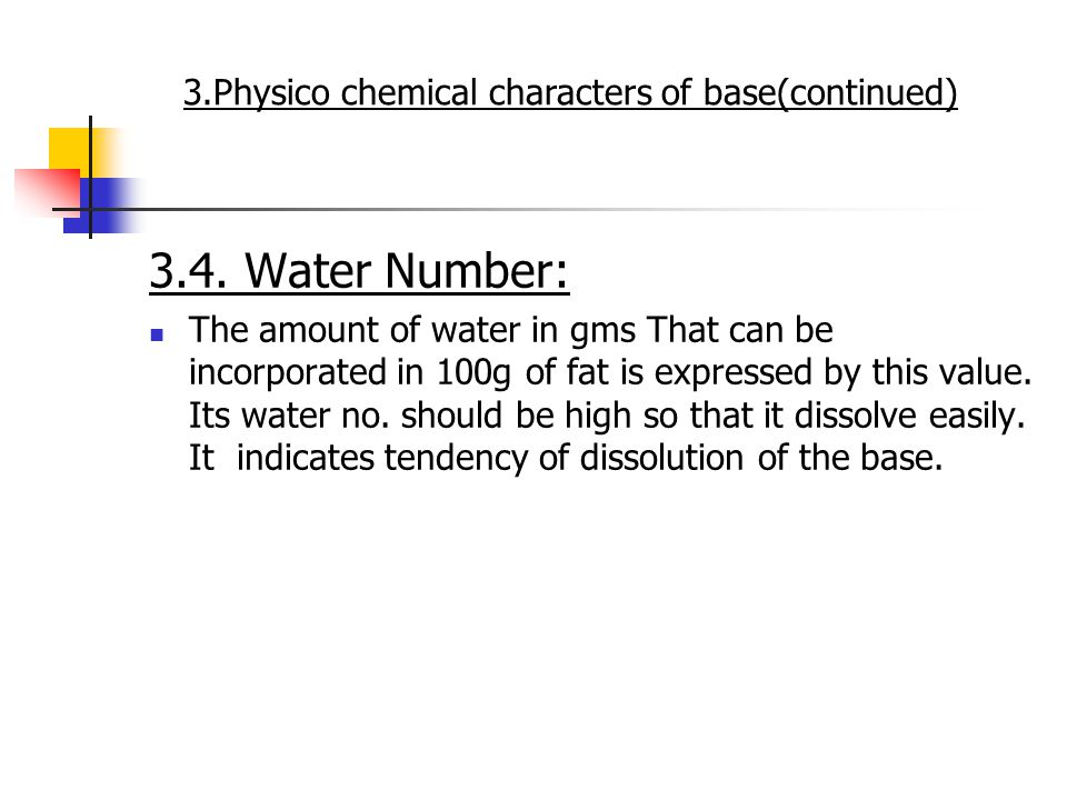 3.4. Water Number: The amount of water in gms That can be incorporated in 100g of fat is expressed by this value. Its water no. should be high so that