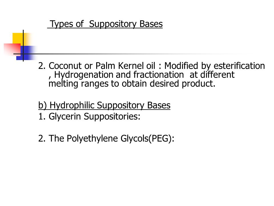 2. Coconut or Palm Kernel oil : Modified by esterification, Hydrogenation and fractionation at different melting ranges to obtain desired product. b)