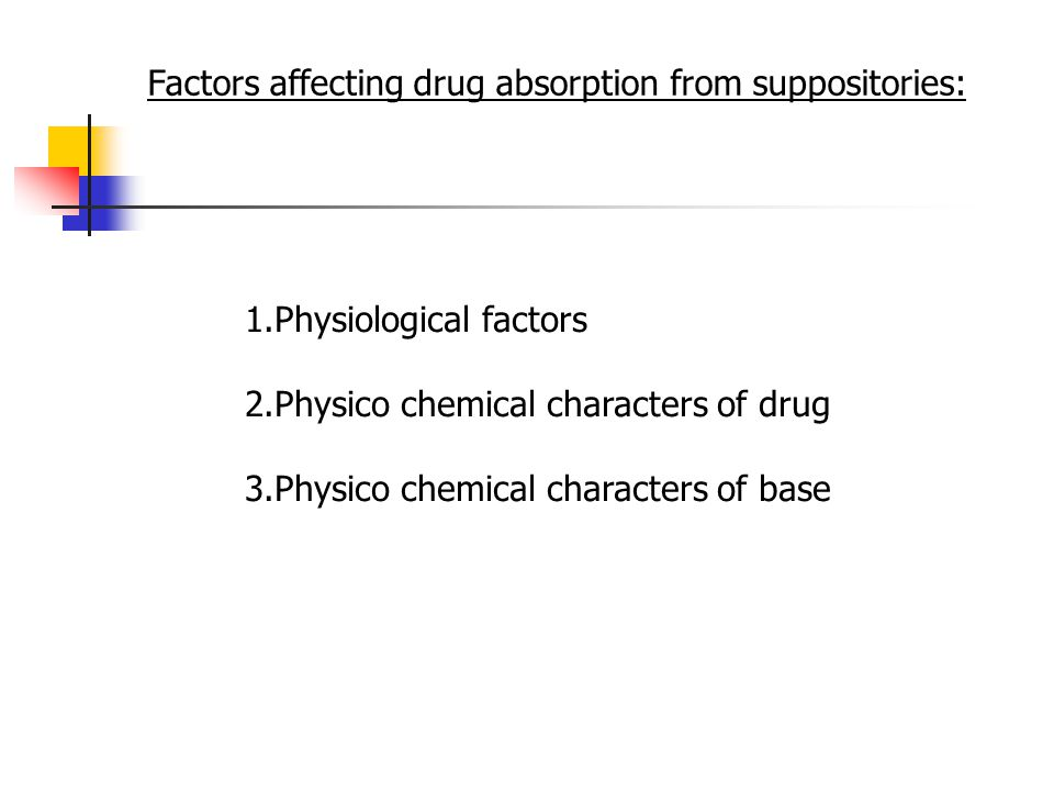 1.Physiological factors 2.Physico chemical characters of drug 3.Physico chemical characters of base Factors affecting drug absorption from suppositories: