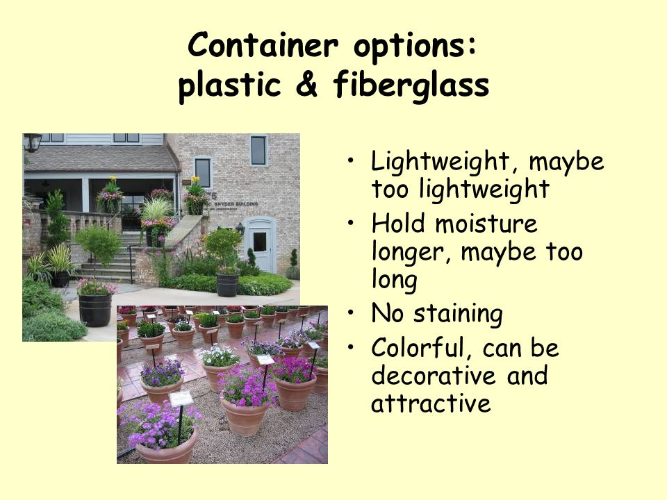 Container options: plastic & fiberglass Lightweight, maybe too lightweight Hold moisture longer, maybe too long No staining Colorful, can be decorativ