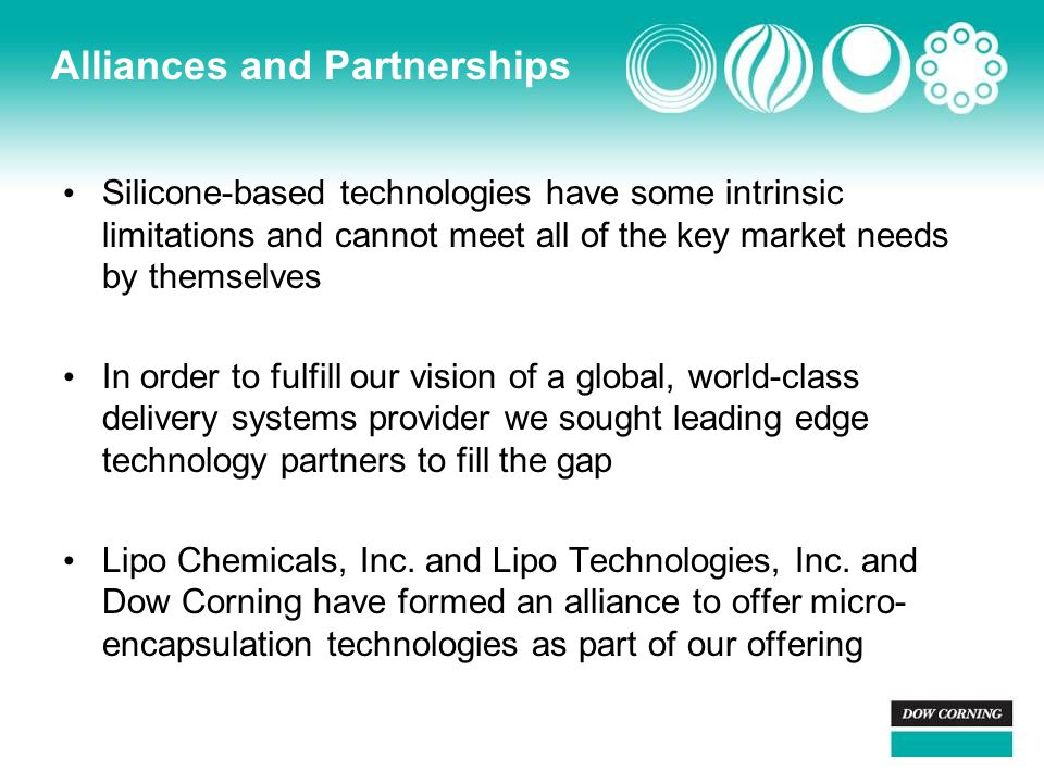 Alliances and Partnerships Silicone-based technologies have some intrinsic limitations and cannot meet all of the key market needs by themselves In order to fulfill our vision of a global, world-class delivery systems provider we sought leading edge technology partners to fill the gap Lipo Chemicals, Inc.