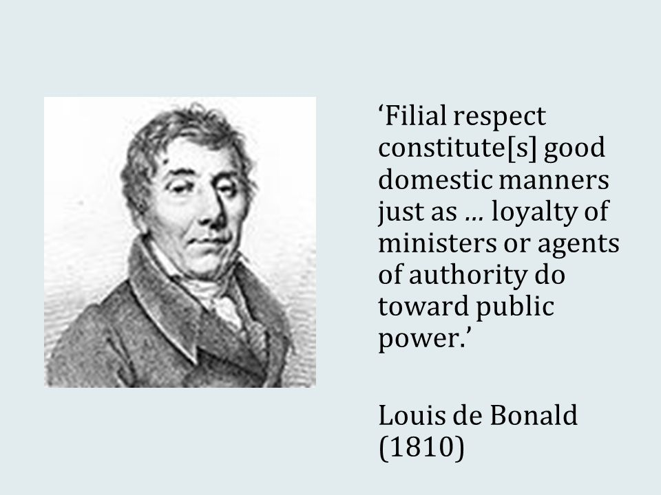 'Filial respect constitute[s] good domestic manners just as … loyalty of ministers or agents of authority do toward public power.' Louis de Bonald (1810)