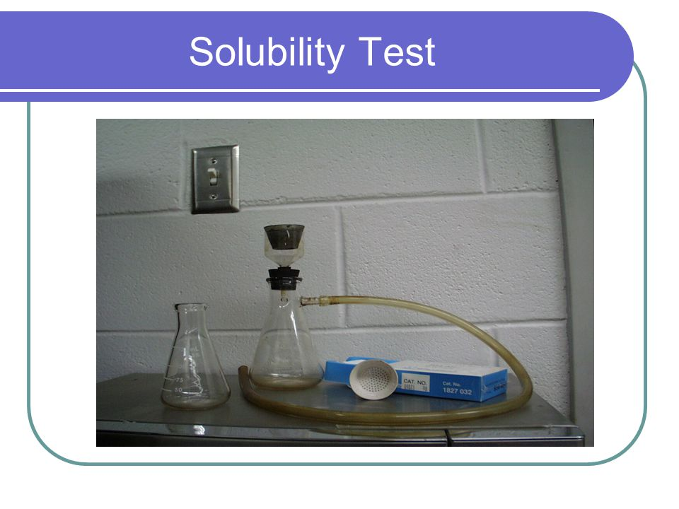 Purity Tests/ Solubility Measures the purity of asphalt 2 g of AC dissolved in 100 ml of trichloroethylene and filtered through a fiberglass filter pa