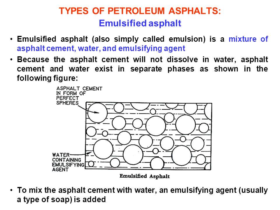 TYPES OF PETROLEUM ASPHALTS: Emulsified asphalt Emulsified asphalt (also simply called emulsion) is a mixture of asphalt cement, water, and emulsifyin