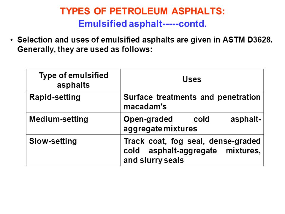 TYPES OF PETROLEUM ASPHALTS: Emulsified asphalt-----contd. Selection and uses of emulsified asphalts are given in ASTM D3628. Generally, they are used