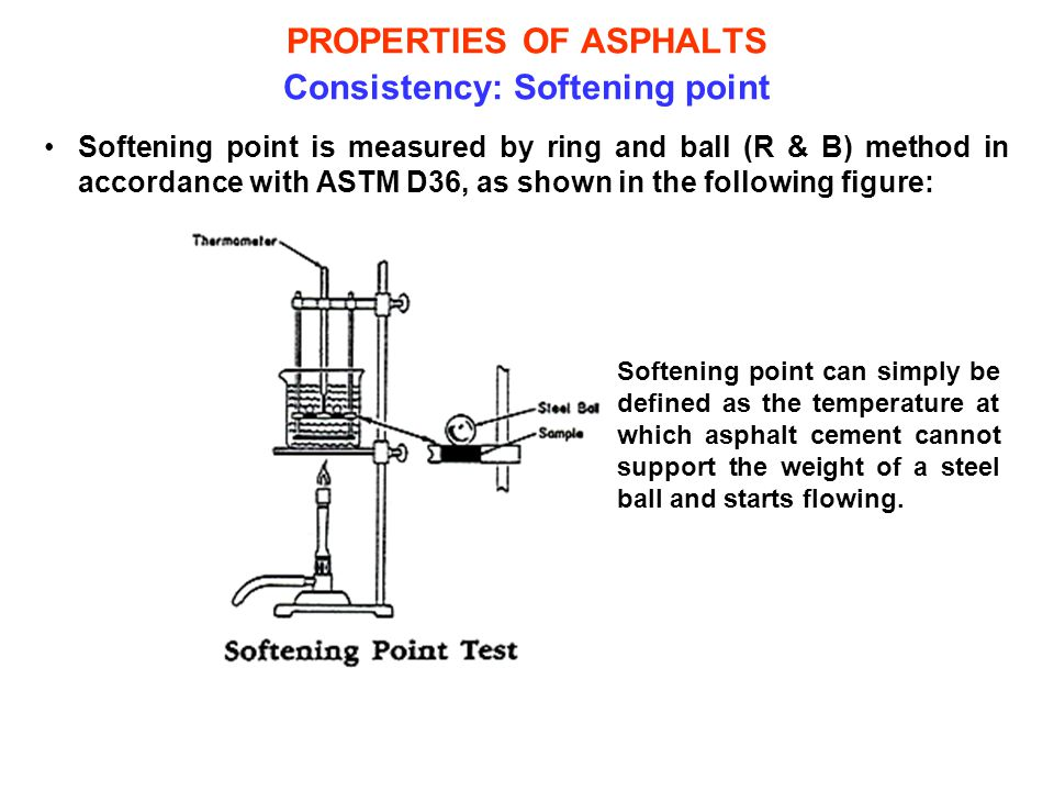 PROPERTIES OF ASPHALTS Consistency: Softening point Softening point is measured by ring and ball (R & B) method in accordance with ASTM D36, as shown