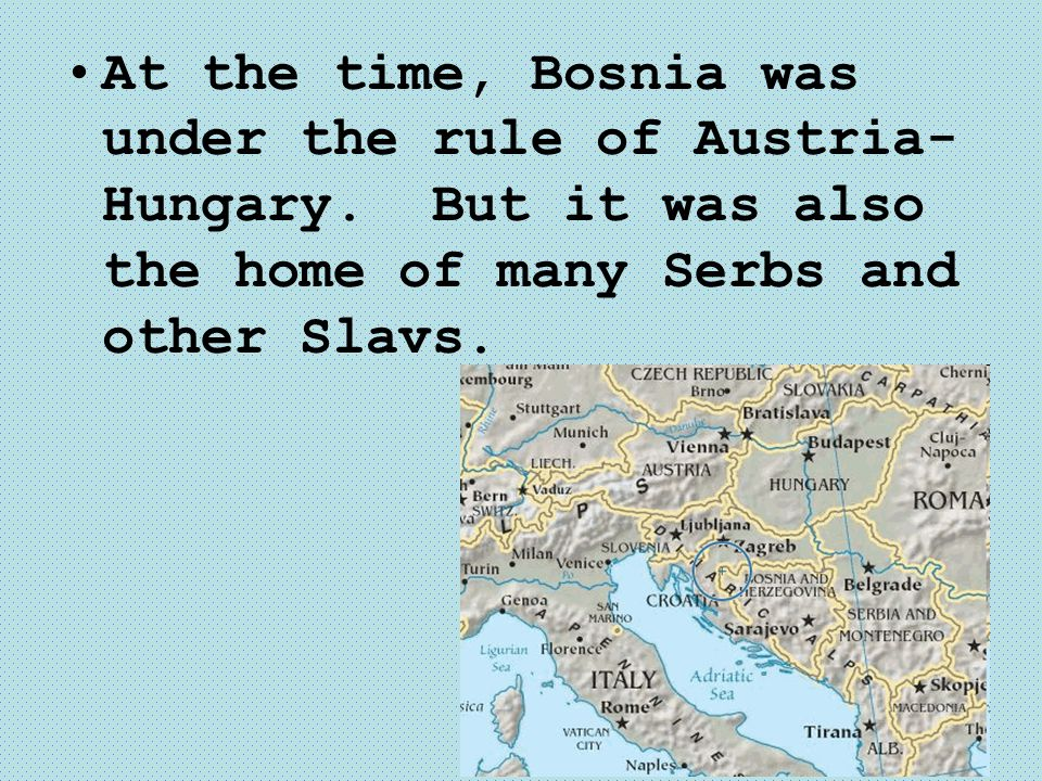 At the time, Bosnia was under the rule of Austria- Hungary. But it was also the home of many Serbs and other Slavs.
