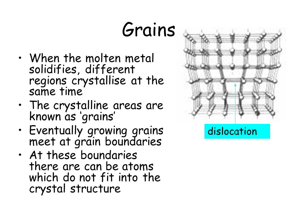 Grains When the molten metal solidifies, different regions crystallise at the same time The crystalline areas are known as 'grains' Eventually growing grains meet at grain boundaries At these boundaries there are can be atoms which do not fit into the crystal structure dislocation