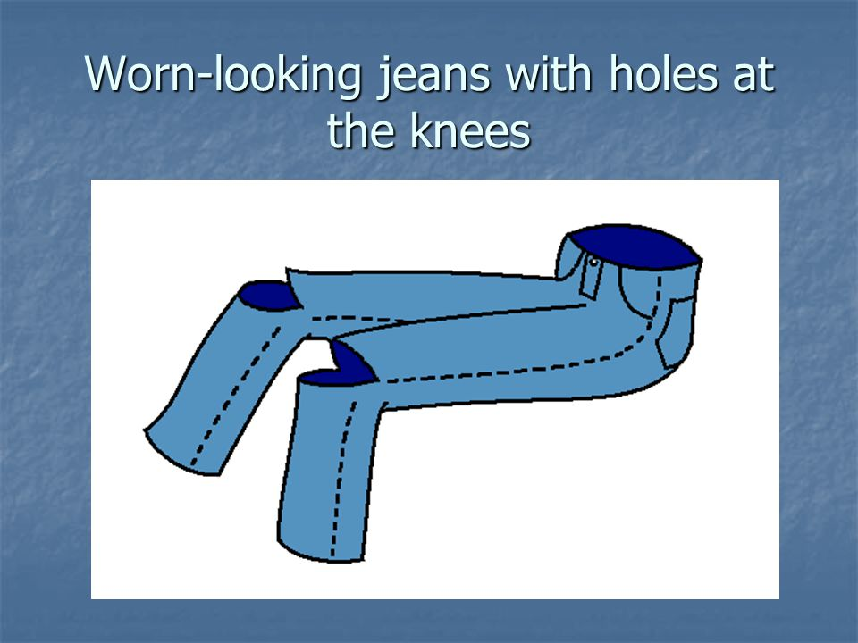 Worn-looking jeans with holes at the knees