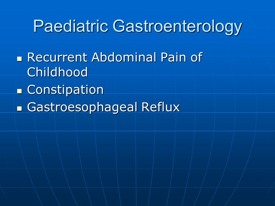 Gastrooesophageal Reflux Gastrooesophageal Reflux Disease Completely different condition Completely different condition Characterised by food refusal, haematemesis, irritability and failure to thrive Characterised by food refusal, haematemesis, irritability and failure to thrive Clinical diagnosis unless suspicion of obstruction Clinical diagnosis unless suspicion of obstruction Trial of PPI then endoscopy and biopsy Trial of PPI then endoscopy and biopsy Fundoplication vs longterm PPIs Fundoplication vs longterm PPIs