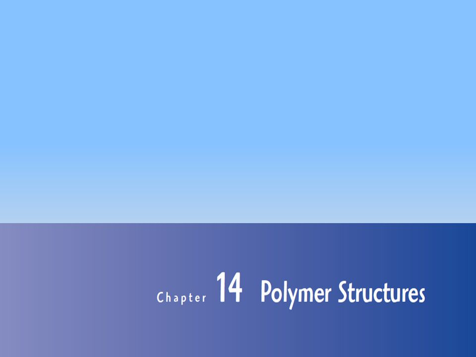 Chapter 14: Polymer Structures 12 Molecular weight continue… Weight Average Molecular weight,=  w i M i Where, M i =Mean molecular weight within a size range w i =weight fraction of molecules within the same size range