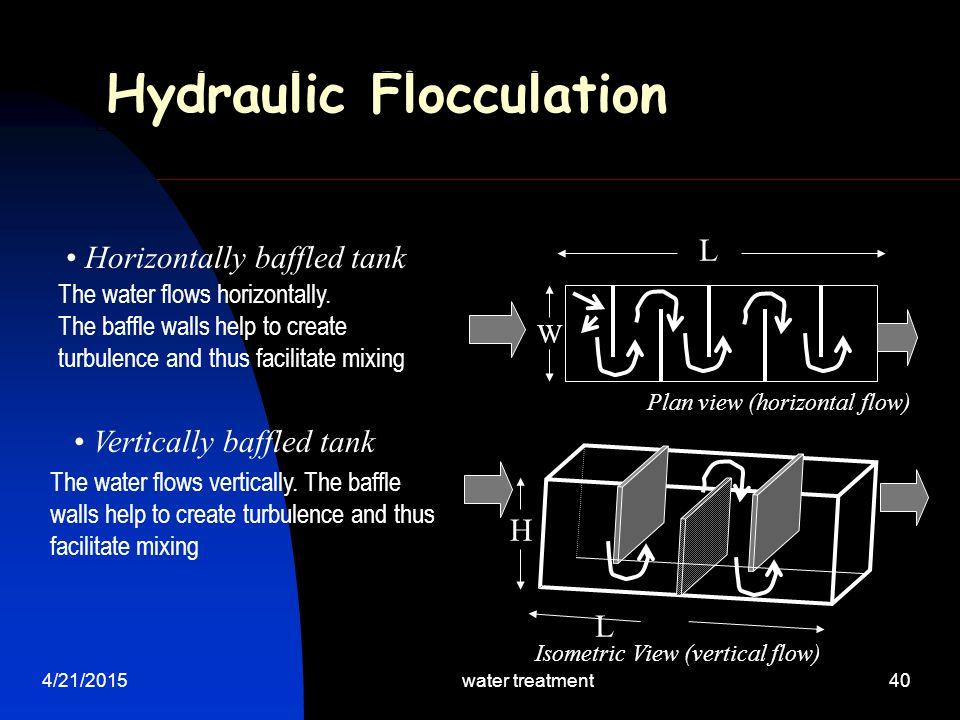 4/21/2015water treatment40 Hydraulic Flocculation Horizontally baffled tank Plan view (horizontal flow) Vertically baffled tank L Isometric View (vert