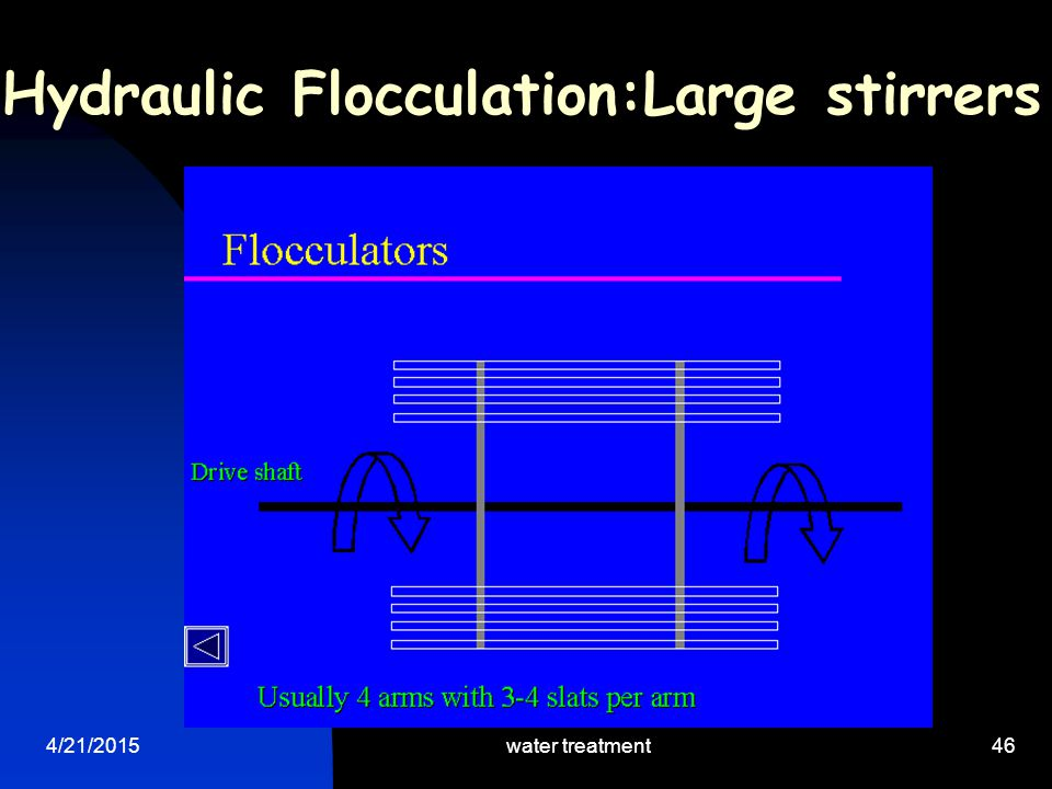4/21/2015water treatment46 Hydraulic Flocculation:Large stirrers