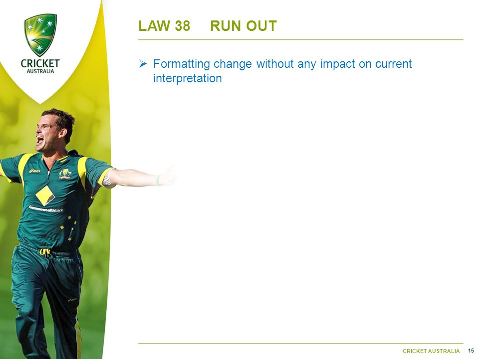 15 CRICKET AUSTRALIA LAW 38RUN OUT  Formatting change without any impact on current interpretation