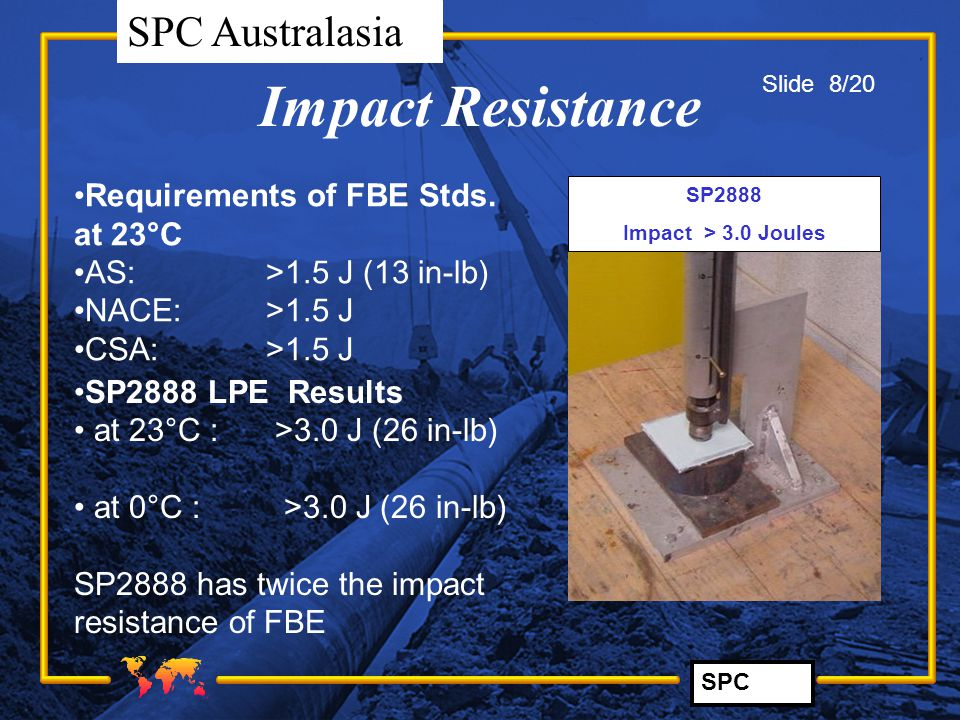 SPC SPC Australasia Impact Resistance Requirements of FBE Stds. at 23°C AS:>1.5 J (13 in-lb) NACE: >1.5 J CSA:>1.5 J SP2888 Impact > 3.0 Joules SP2888