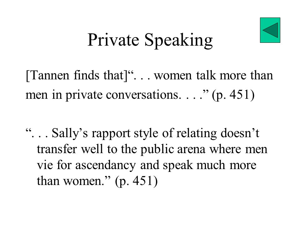 Private Speaking [Tannen finds that] ...women talk more than men in private conversations.... (p.