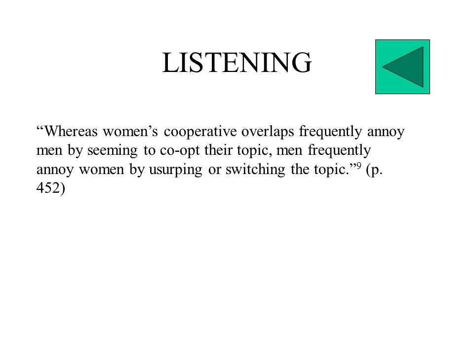 LISTENING Whereas women's cooperative overlaps frequently annoy men by seeming to co-opt their topic, men frequently annoy women by usurping or switching the topic. 9 (p.