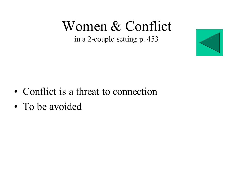 Women & Conflict in a 2-couple setting p. 453 Conflict is a threat to connection To be avoided