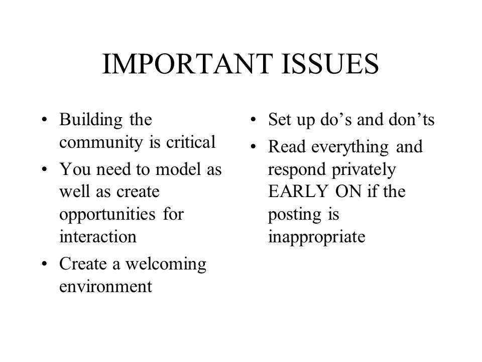 IMPORTANT ISSUES Building the community is critical You need to model as well as create opportunities for interaction Create a welcoming environment S