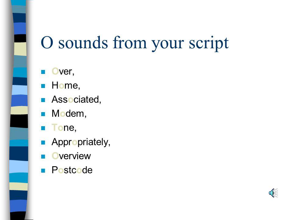 O sounds from your script n Over, n Home, n Associated, n Modem, n Tone, n Appropriately, n Overview n Postcode