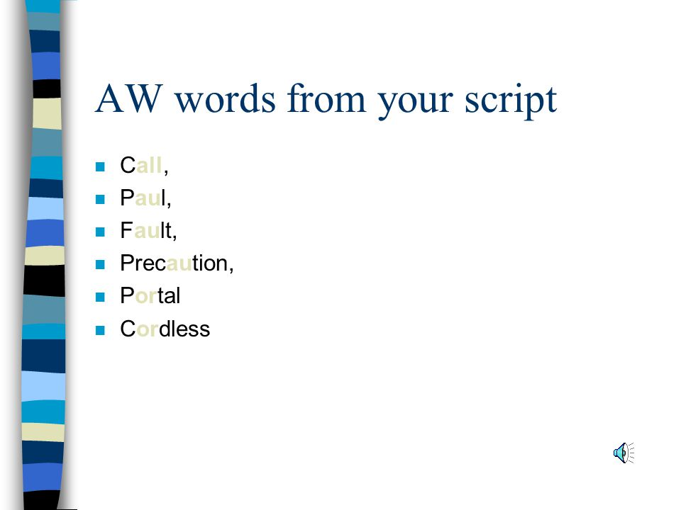 AW words from your script n Call, n Paul, n Fault, n Precaution, n Portal n Cordless